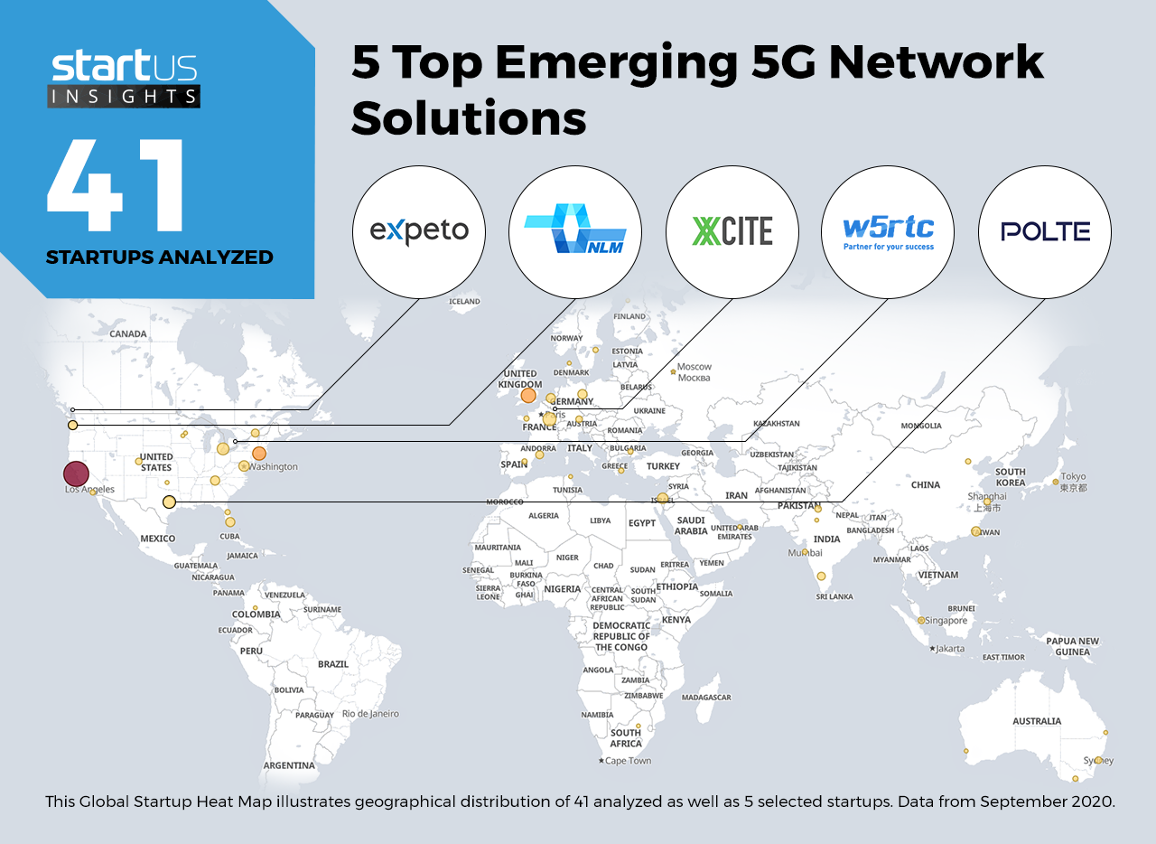 5 Top Emerging 5G Network Solutions -- map of the world highlighting these five startups