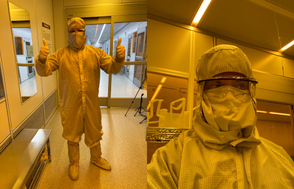 Kevin and Lewis in full clean room head-to-toe gear
